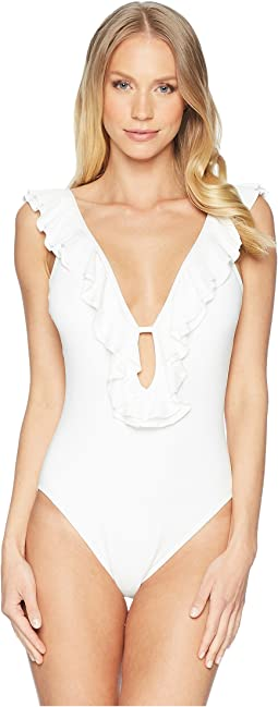 MICHAEL Michael Kors - Solids Ruffle Deep V One-Piece w/ Removable Soft Cups