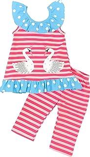 AngelineブティックGirls The Serenity Ruffle Capri Setミントコーラル?–?Back To School Outfit