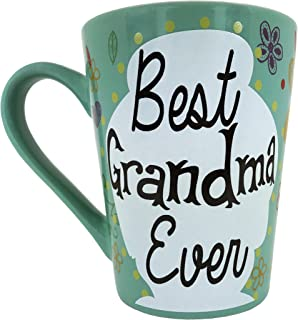 Mother's Day Coffee Mug Gifts - Best Grandma Ever Ceramic Tea Cup - Birthday Presents for Mothers and Grandma - Turquoise- 12 Oz.