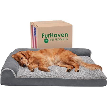 Furhaven Orthopedic, Cooling Gel, and Memory Foam Pet Beds for Small, Medium, and Large Dogs and Cats - Two-Tone Plush and Suede L-Shaped Sofa Dog Bed and More
