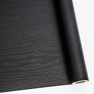 "24"" X 118"" Black Wood Self Adhesive Paper Decorative Self-Adhesive Film Furniture Real Wood Tactile Sensation Surfaces Easy to Clean"