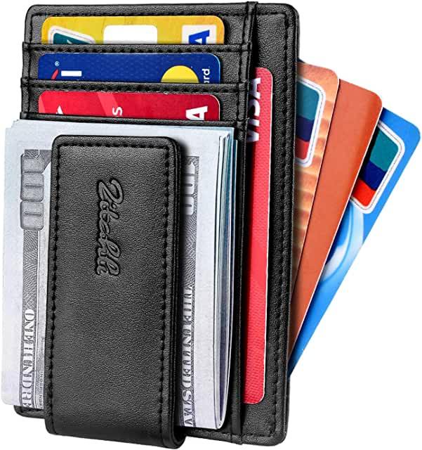 Slim Minimalist Bifold Front Pocket Wallet with Strong Magnet Money Clip for men,Effective RFID Blocking Anti-magnetic