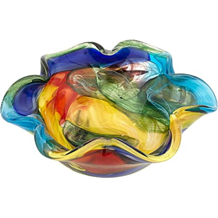 Badash Stormy Rainbow Murano Style Art Glass Decorative Bowl 8 5 Mouth Blown Glass Floppy Centerpiece Bowl Home Decor Accent Home Kitchen