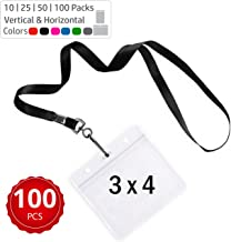 Durably Woven Lanyards & 3 x 4 Horizontal ID Badge Holders ~Premium Quality, Waterproof & Dustproof ~ For Moms, Teachers, Tours, Events, Businesses, Cruises & More (100 Pack, Black) by Stationery King