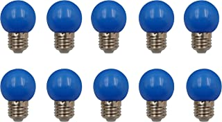 JCKing (Pack of 10) E27 Screw Cap Base Golfball Lamps Coloured Light Bulbs For Patio Party Christmas - Blue