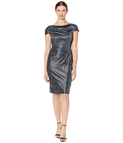 Tahari by ASL Draped Neck Cap Sleeve Stretch Metallic Cocktail Dress (Navy) Women