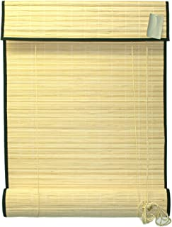Seta Direct, Natural Bamboo Slat Roll Up Blind with Valance 24-Inch Width by 72-Inch Length
