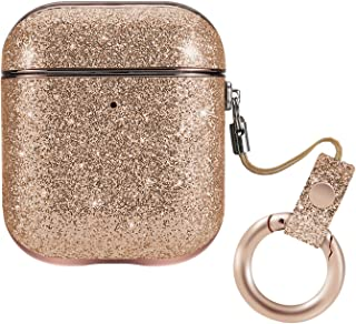 Aladrs Fashion Glitter Leather Protective Cover for Airpods Case (Front LED Visible), Shiny Bling Hard Cover for Apple Airpods 2/1 Charging Case, Gold