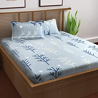 Story@Home Prism Collection 120 TC 100% Cotton Elegant Floral Pattern 1 Double Bedsheet with 2 Pillow Cover - Sky Blue