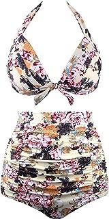 Linda Per Comfortable Women Retro Vintage Polka Floral High Waisted Bikini Swimsuits