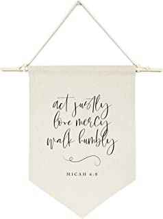 The Cotton & Canvas Co. Act Justly Love Mercy Walk Humbly, Micah 6:8 Bible Verse, Religious, Scripture Hanging Wall Canvas...