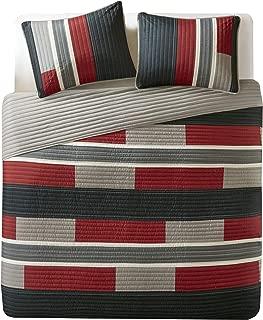 Comfort Spaces Pierre 3 Piece Quilt Coverlet Bedspread All Season Lightweight Hypoallergenic Pipeline Stripe Colorblock Kids Bedding Set, Full/Queen, Black/Red