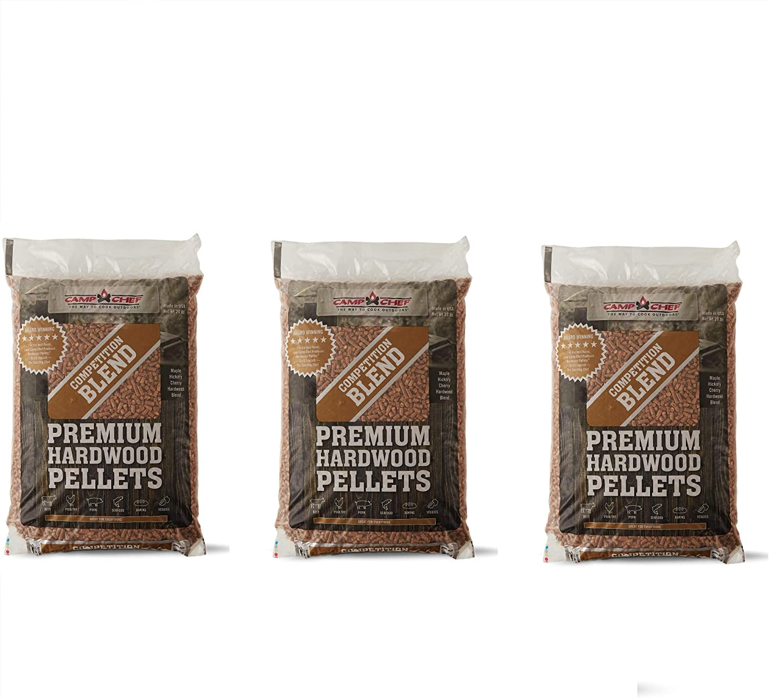 Camp Chef Smoker Grill Natural Competition Blend Hardwood Pellets, 20 Pounds (3)