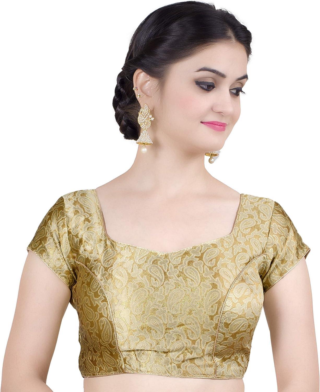 Chandrakala Women's Designer Bollywood Readymade gold Saree Blouse Padded Brocade Choli (B115GOL1)