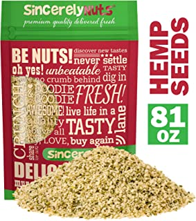 Sincerely Nuts Hulled Hemp Seeds – (5 lb bag) All Natural Super Food | Natures Complete Protein Contains All 9 Essential Amino Acids | Heart Healthy Omega 3 Fat | Non GMO, Kosher, Gluten Free, Raw