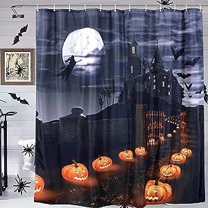 YoKii Horror Halloween Shower Curtain Set with Hooks, Scary Pumpkin Full Moon Castle Witch Halloween Bathroom Decors, All Hallows Eve Nightmare Decorative Bath Curtains (72x72, Grey)