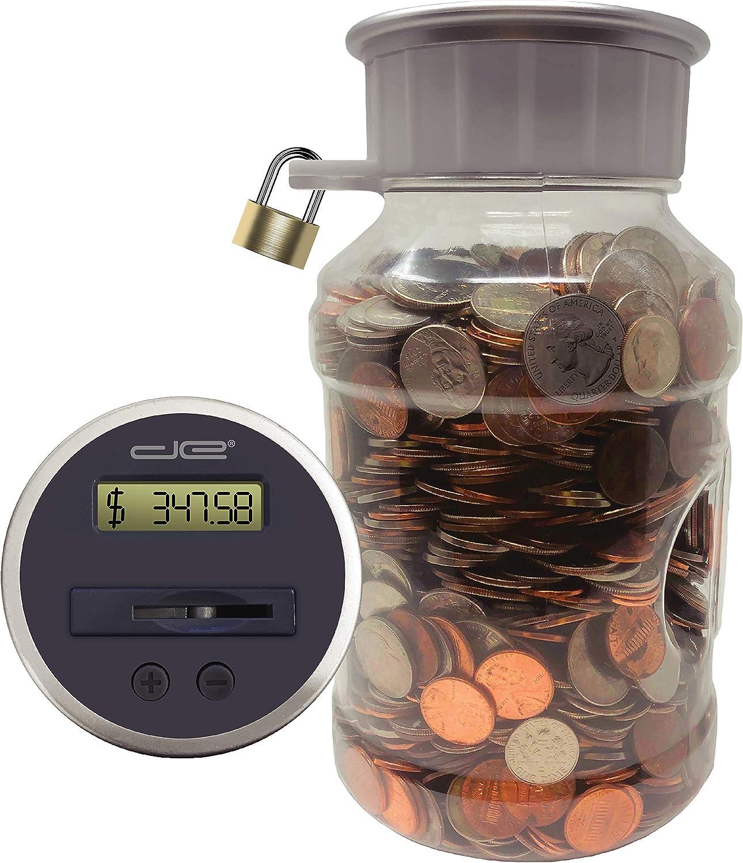 Locking Digital Omaha Mall Coin Bank Savings Jar Pennies Nickles Qu Dimes - mart