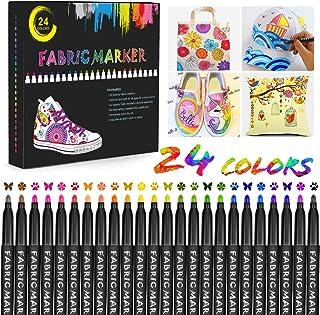 Gifort Rotuladores para Tela Permanentes, 24 Colores Marcadores Textiles Sin Sangrado y No Tóxico para Niños Adultos Regal...