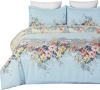 Vaulia Lightweight Duvet Cover Set, Vintage Watercolor Flower Print Pattern - Queen Size