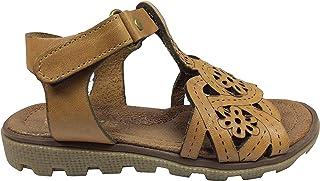 Tipiş Tipiş Raduno Patik Kiz Sandalet Kahverengi Direkli Lazerli Çiçek Desen Bilekten Cirtli% 100 Deri
