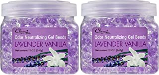 Clear Air Odor Eliminator Gel Beads - Eliminates Odors in Bathrooms, Cars, Boats, RVs and Pet Areas - Air Freshener Made with Natural Essential Oils - 2 Pack (2 x 12 OZ) (Lavender Vanilla)