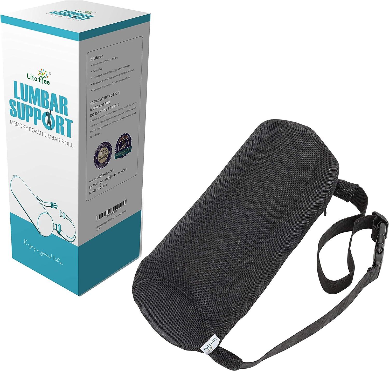 LitoTree Max Max 78% OFF 61% OFF Lumbar Roll for Back Support 100% Foam Memory Optim -