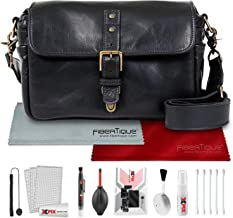 ONA The Bowery Camera Bag (Leather, Black) with Xpix Travel Photo Cleaning Kit