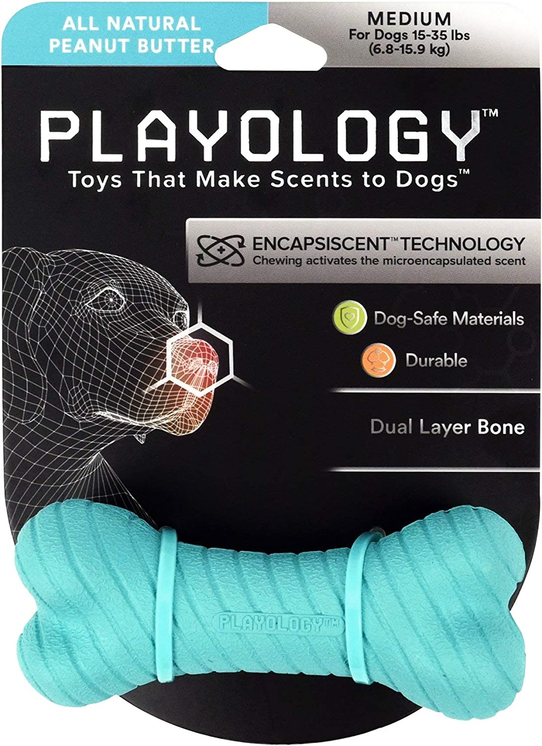 Playology Dual Layer Bone Scented Dog Toy, Soft and Chewy on The Outside, Hard and Durable on The Inside, Peanut Butter (Medium)