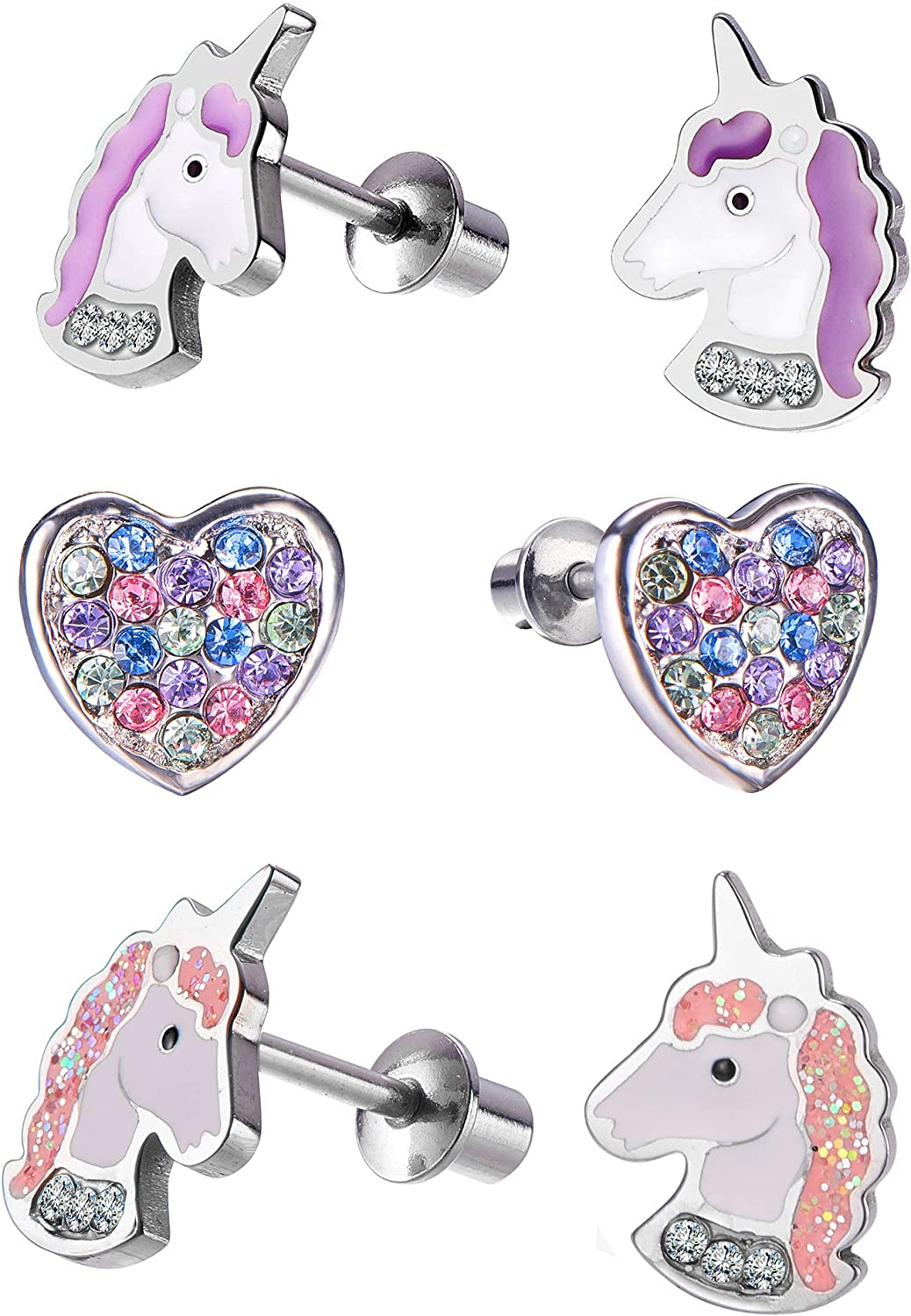 Excellence Hypoallergenic Unicorn Butterfly Heart Stud Sec Earring with Low price Set