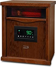 Ivation Portable Electric Space Heater, 1500-Watt 6-Element Infrared Quartz Mini Heater With Digital Thermostat, Remote Control, Timer & Filter, Cherry Oak,