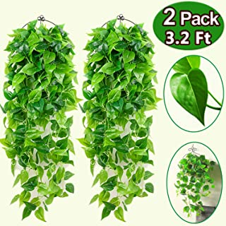 2 Pack Artificial Hanging Plants 3.2 Feet Fall Garland Decoration, Garland Greenery Fake Ivy Vine Fake Leaves Greeny Chain for Wall Home Room Garden Wedding Garland Outside Decoration