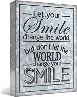 Barnyard Designs Let Your Smile Change The World Galvanized Metal Box Wall Art Sign,..
