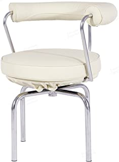 Swivel Armchair, Beige Italian Leather, Hand-Polished Chrome Stainless Steel Frame.