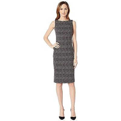 Calvin Klein Compression Sheath Dress w/ Hot Fix (Black/Cream) Women