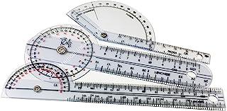"""EMI Pocket 3 Piece Goniometer Set: Finger Goniometer, 6"""" Goniometer, 180 Degree 6"""" Goniometer EGM-430"""