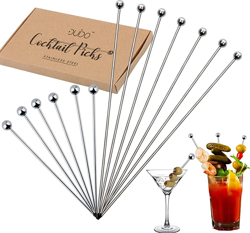 Cocktail Martini Picks And Stirrers Toothpicks 12 PACK 4 Inch And 8 Inch Reusable Cocktail Picks Stainless Steel Metal Drink Skewers Sticks For Martini Olives Appetizers Bloody Mary Fruits