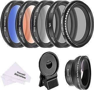 Neewer 37mm Teléfono Móvil Lente Kit Accesorios045X Gran Angular LenteLente ClipGraduado Filtro Color(Azul Naranja Gris)Filtro Polarizador Circular CPL FiltroFiltro ND2–400
