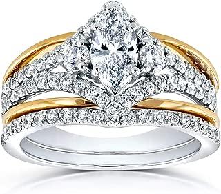 Kobelli Art Deco Marquise Diamond Bridal Ring Set 1 1/5 Carat (ctw) in 14k Two-tone Gold