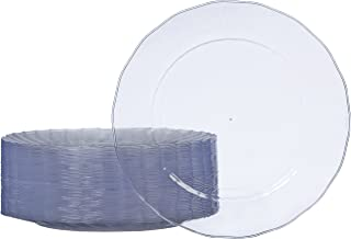 AmazonBasics Disposable Clear Plastic Plates, 50-Pack, 10.25-inch