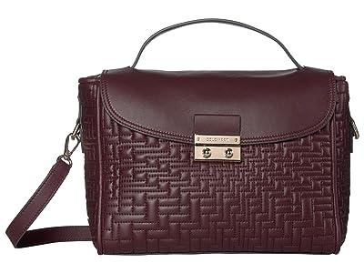 Cole Haan Lock Quilted Satchel (Winetasting) Handbags