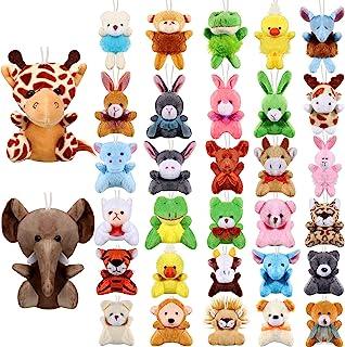 32 Pieces Mini Plush Animal Toys Safari Stuffed Toys Animals Cute Plush Keychain Animals Decoration for Birthday Teacher S...