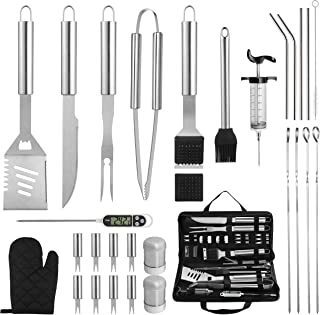 grilljoy 30PCS Heavy Duty BBQ Grill Tools Set with Thermometer and Meat Injector. Extra Thick Stainless Steel Fork, Spatula, Tongs& Cleaning Brush. Complete Grilling Accessories in Portable Bag.