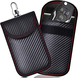 2 PACK Kleine Faraday Zak voor Autosleutels, Autosleutelsignaal Blokkeerzak voor Auto, RFID-Sleutelzak Faraday Tas voor Sl...