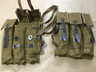 SUNSHINE EXPORTS WWII German MP44 MP 44 Stg44 Magazine Pouch Set - Jute n Leather