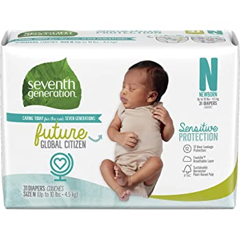 Seventh Generation Baby Diapers, Sensitive Protection, Size Newborn, 31 Count