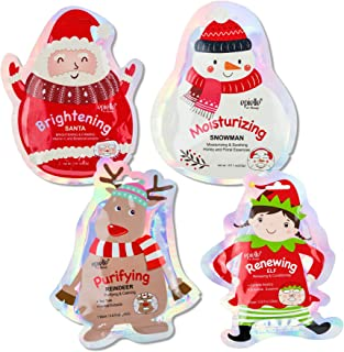 Epielle Holiday Character Sheet Masks (Assorted 4 masks) - Includes 1-Santa, 1-Reindeer, 1-Snowman, 1-Elf