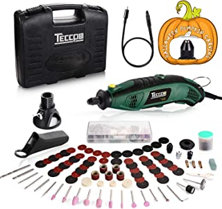 Upgraded Rotary Tool TECCPO 8,000-35,000RPM, Universal Keyless Chuck, Flex shaft, Cutting Guide, Auxiliary Handle 84 Accessories & Attachments, Ideal for Halloween Pumpkin Carving & DIY projects