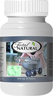Calcium Zinc Magnesium 476mg 90 Tablets [1 Bottle] by Total Natural, Safe and Natural Join Support Health Supplement for Men and Women, GMP Premium Ingredients