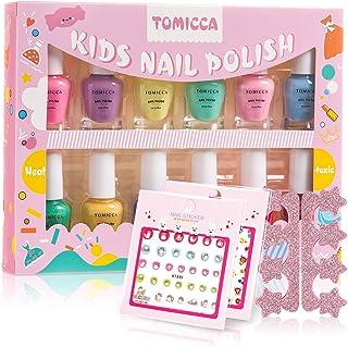 TOMICCA Kids Nail Polish Set Candy Rainbow Colors 100% Non-Toxic Washable Odorless Peel Off Natural Safe Nail Polish Set Q...