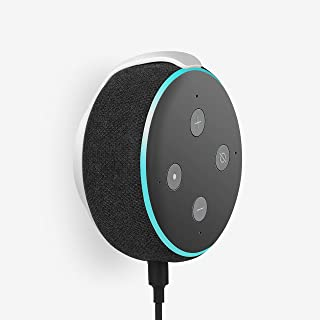 (White) - Echo Dot Wall Mount Holder for 3rd Generation, Built-in Cable Management Space-Saving Accessories for Dot(3rd Ge...